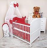 Amilian® Baby Bettwäsche 5tlg Bettset mit Nestchen Kinderbettwäsche Himmel 100x135cm Pferd Chiffonhimmel