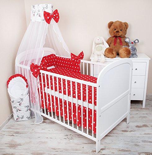 Amilian® Baby Bettwäsche 5tlg Bettset mit Nestchen Kinderbettwäsche Himmel 100x135cm Pferd Chiffonhimmel (Rote Baby-bettwäsche)