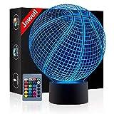Lampada con immagine 3D, motivo basket, cambia 7colori, interruttore tattile, con USB, bella idea regalo giocattolo decorativo