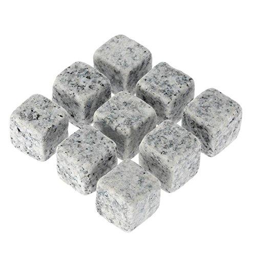 Wonderfulrita Whiskey Stones Gift Set 9 PCS/Set Natürliche Wiederverwendbare High Cooling Technology Cubes Kühlsteine mit Aufbewahrungstasche für Verschiedene Getränke