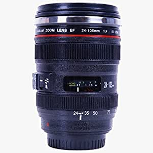 Icemoon Kamera-Kaffeetasse Camera Lens Mug / Lens Coffee Cup Objektiv Camera Lens-Becher Trinkbecher in Kameraobjektiv Form für Kaffee, Milch, Wasser(schwarz, 24-105mm) (4.0L, schwarz)