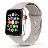 Iyou für Apple Watch Armband 38mm/42mm, Weiches Silikon Ersatzarmband Classic Sportarmband für iWatch Apple Watch Series 3/2/1, Edition, Nike + (38MM M/L, Stone)