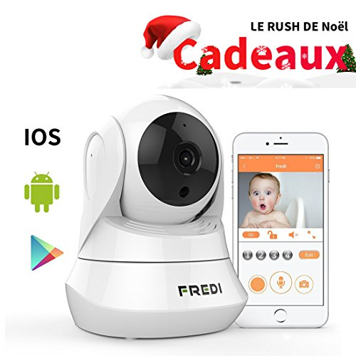 FREDI 720P HD Caméra IP WiFi, Caméra de Surveillance Sans-Fil Intérieur, Vision à Distance de Jour et Nocturne Caméra IP de Sécurité Panoramique / Inclinable Moniteur Bébé Plug & Play Audio Bidirectionnel, Caméra de Sécurité Blanc