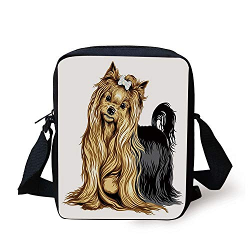 LULABE Yorkie,Realistic Drawing Long Haired Yorkie Domestic Pet Cute Dog with Mild Expression,Mustard Black Print Kids Crossbody Messenger Bag Purse -