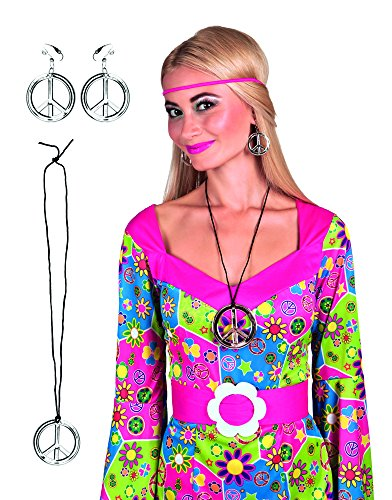 3 Piece 1960's Hippie Set with Necklace and Earrings Fancy Dress Accessory