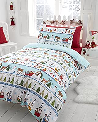 Christmas Tree Xmas Snowflake Reversible Quilt Duvet Cover and 2 Pillowcase Bedding Bed Set, Multi-Colour
