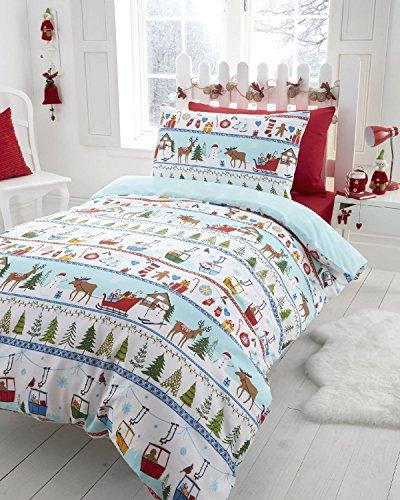 Set copripiumino e federe con stampa natalizia - Bianco Natale - Singolo UK