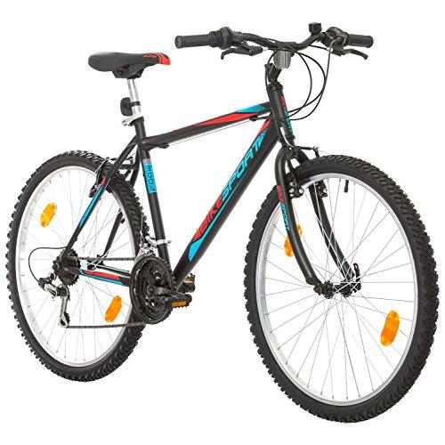 BIKE SPORT LIVE ACTIVE 26 Zoll Bikesport ACTIVE Fahrrad Mountainbike MTB Herrenfahrrad Shimano 18 GANG (Schwarz matt Blau Rot, L)