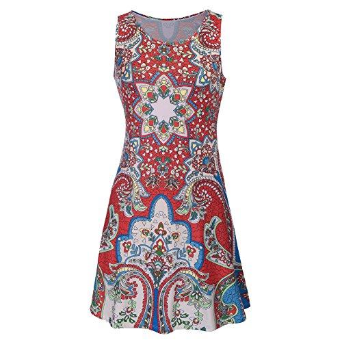 Damen Sommer Kleid Drucken Knielang IHRKleid® ärmellos Runder Kragen A-Linie Strandkleid Lose Sommerkleid - Hochwertig Style 4