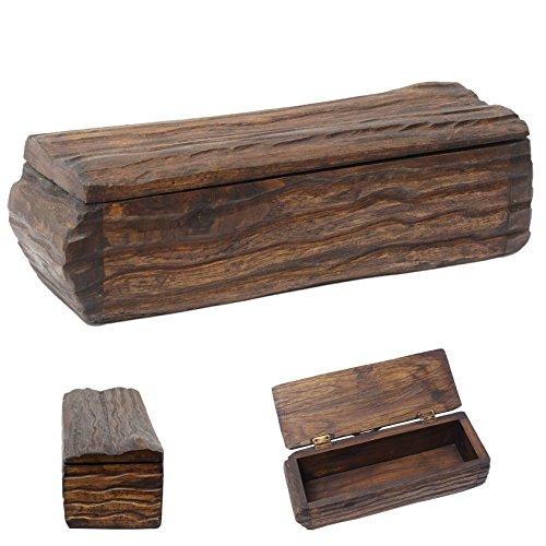 Holzschatulle Stiftebox Schmuckkasten Holzdose Holzkiste Teak Holz Box Kiste Dunkel Braun ca. 28 cm Dunkelbraun Nr. 2