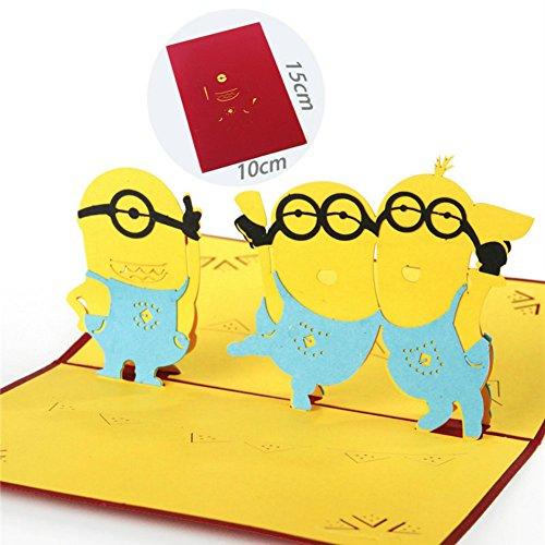 Woodbury 3D Karten Pop Up Grußkarte Geschenk Geburtstagskarte Karte Danke Minions