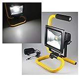 SAILUN 20W Gelb LED Mit Akku Kaltweiß Fluter Handlampen Flutlicht Arbeitsleuchte Tragbar wiederaufladbare Fluter IP65 mit Halter (20W Kaltweiß )
