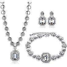 Conjunto de GoSparkling –Cristal Claro –Conjunto de Colgante y Pendientes con 100% Cristal Austriaco - Calidad Costeable- Perfecto para Ocasiones Formales y Casuales ST-48341
