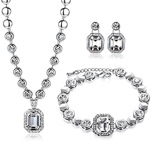 GoSparking cristallo 18K White Gold Plated Alloy Set con cristallo austriaco per le donne