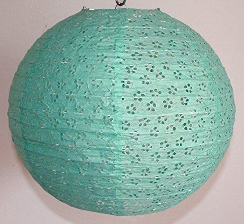 Lampion 06 blau/grün Lochmuster Lampe Papier Pendelleuchte grün mo-dance (Grün Mo)