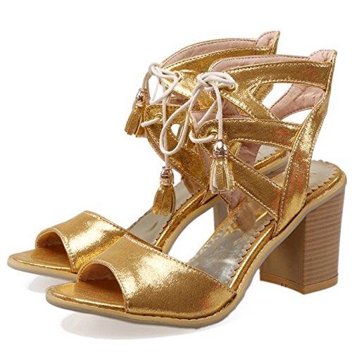 COOLCEPT Damen Mode Schnurung Sandalen Open Toe Blockabsatz Slingback Schuhe Schwarz