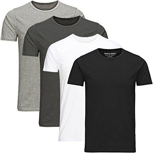 Preisvergleich Produktbild JACK & JONES Herren T-Shirt Basic 4er Pack O-Neck V-Neck Tee S M L XL XXL (XL, 4er O-Neck Mix2)