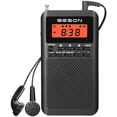 Tragbares AM/FM-Radio, digital, batteriebetrieben, Einstellung von Shortcuts, Sleep-Timer, Voreinstellung, Wecker und Kopfhörer (schwarz)