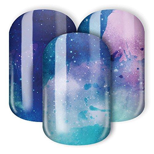 Nail Wraps / Nagelfolien -'Nebula' - mystisches Design mit Sternnebel, Galaxie & Weltraum (blau, türkis, rosa)