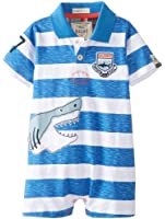 Hatley Baby Boys Infant Shorty Rugby Slub Jersey Shark Romper