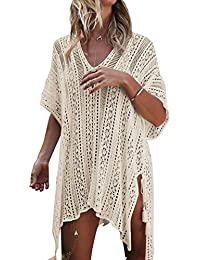 HAIGOU Damen Gestrickte Strandkleid Sommer Strandponcho Strandurlaub Badeanzug Bikini Cover-Ups