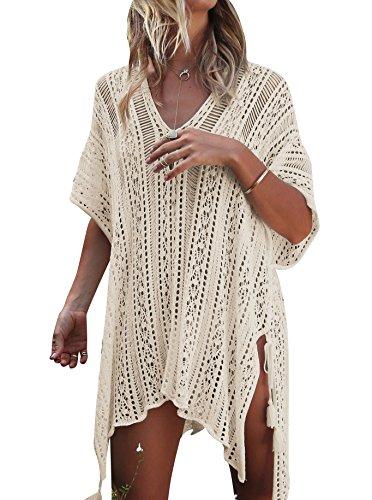 Damen Gestrickte Strandkleid Sommer Strandponcho Strandurlaub Badeanzug Bikini Cover-Ups HAIGOU (One Size, Beige) (Schöne Kleider Verkauf Für)