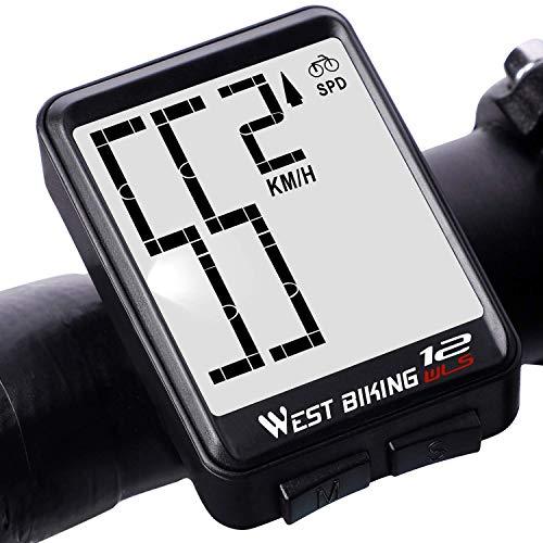 Lixada Fahrradcomputer Kabellos Wasserdicht Tachometer Fahrrad Thermometer Geschwindigkeit Distanz Zeitmaß mit LCD-Hintergrundbeleuchtung