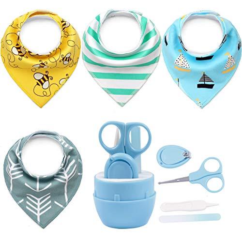 WENTS Baby Dreieckstuch Lätzchen Halstücher Drool Lätzchen 4 Pack und Babypflege set Baby Nail Kit Baby Shower Geschenkset für Jungen und Mädchen