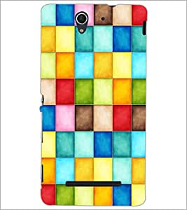 PrintDhaba Coloured Blocks D-3860 Back Case Cover for SONY XPERIA C3 (Multi-Coloured)