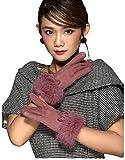HYSENM Damen Handschuhe Lederhandschuhe Sämischleder mit Kaninfell Schleife Touchscreen verschiedene Farben, Rosa
