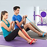 4-Tube Foot Pedal Resistance Band,Portable Rope Sit-ups Fitness Equipment,Elastic Pull Yoga Sports for Abdomen/Waist/Arm/Leg Stretching Slimming Training (red)