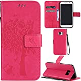 Ooboom® Samsung Galaxy S7 Edge Case Cat Tree Pattern PU Leather Flip Cover Wallet Stand with Card/Cash Slots Packet Wrist Strap Magnetic Clasp for Samsung Galaxy S7 Edge - Hot Pink