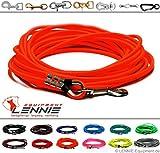 LENNIE Schleppleine aus 6 mm runder BioThane® / 1-30 Meter [15m] / 17 Farben [Neon-Orange] / ohne Handschlaufe