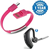 Captcha Micro USB 2.0 Data Sync & Charge Cable Bracelet Wristband With Voyager Series Bluetooth Talk & Music Headset Anti Radiation Compatible With Xiaomi, Lenovo, Apple, Samsung, Sony, Oppo, Gionee, Vivo Smartphones (One Year Warranty)