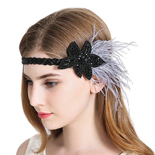 e Vintage Flapper Stirnband Art Deco Gatsby Grau Feder Perlen Kopfstück (Best Teen Girl Kostüme)