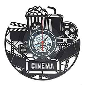 Yongse 12 12 Pollici 3D Nero Popcorn Orologio da Parete Teatro Cinema Snack Bar Orologi Home Decor