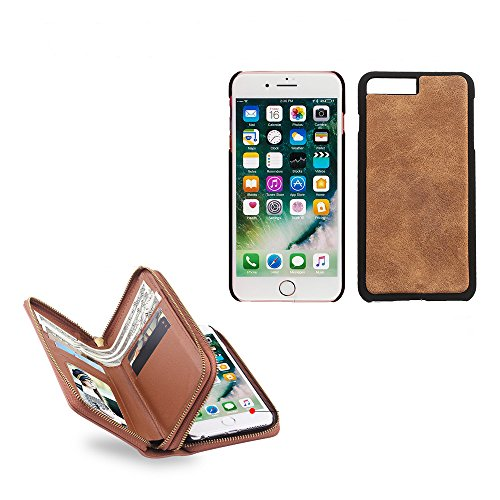 iPhone 7/8 Handbag Wallet Case,SUNWAY Retro Double Zipper Purse Wallet Case Detachable Handbag Leather Cards Cash Slots Flip Kickstand Cover for iPhone 7/8 4.7 Inch,Black Brown