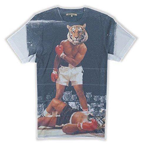 Brave Soul MTS-69 Boxer Vintage Männer T-Shirt Tiger Aufdruck Bianco