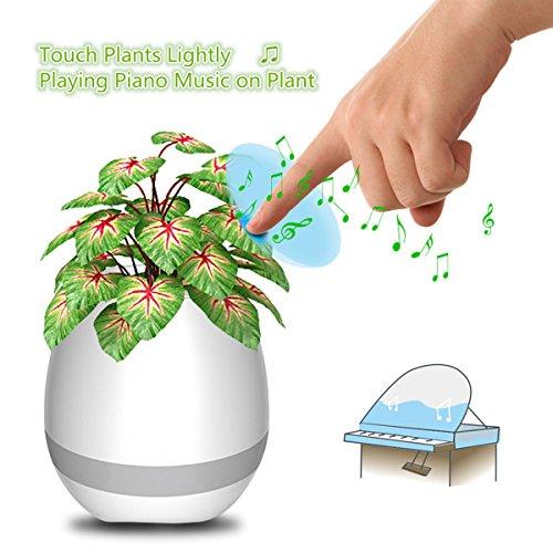Jeteven Musik Blumentopf mit Bluetooth Lautsprecher,Bunten Kleine Nachtlicht und Touch Pflanze Spiel Piano Music, 11,4 x 12,7 cm Weiß