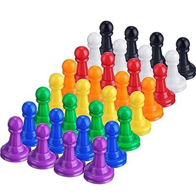 Hestya 32 Pièces Pièces Jeux de Pions de Société en Plastique Multicolores, 1 Pouce Pions de Table Composant Marqueurs