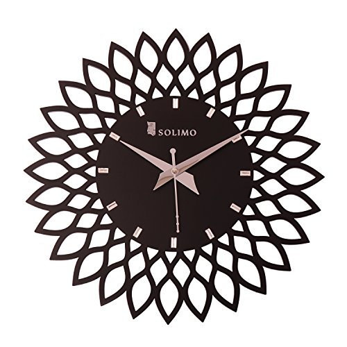 Amazon Brand - Solimo 11.25-inch Wooden Wall Clock - Designer Flower (Step...