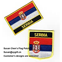 coolpart Serbia Bandiera Patch 2pcs molto perfetto cerotti - Navy Stick Flag