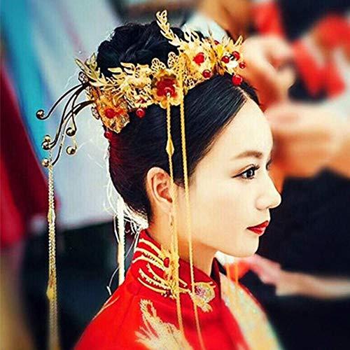 Littlefairy Braut Haarschmuck,Chinesische Braut Kostüm Xiu Wo Kleidung Kopfbedeckung - Kostüm Diademe