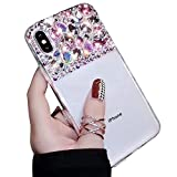 Coque Diamant pour iPhone 6 Plus 6S Plus,Coque iPhone 6 Plus 6S Plus Strass Diamant 3D Bling Bling Brillant Paillette Transparente Silicone Antichoc Étui Housse pour Femme Fille Ado