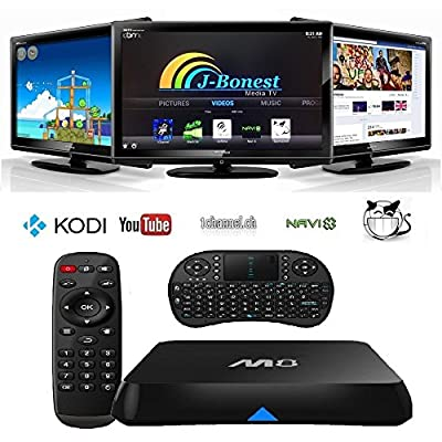 J-Bonest With Wireless Keyboard Touchpad with M8 Quad Core MBOX 1080p HD WiFi Blu-ray Android KITKAT ULTRA-HD Preloaded with Newest XBMC (Kodi), 15.2 add-ons, Showbox, Netflix Free Worldwide HD Porn Football Today Smart TV Box Streaming Media Player