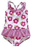 Anwell Baby Mädchen Rosa mit Blumenmuster Badebekleidung Krausen einteilig Schwimmen Anzug 3T,(Herstellergröße 6-12M)