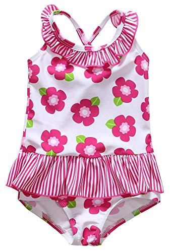 Anwell Neugeborene mit Blumenmuster Krausen rückenfrei Kleid Schwimmen Anzug Badebekleidung Rosa 0-6m,(Herstellergröße 3T)