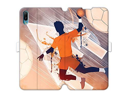 Hülle für Huawei Y6 (2019) - Hülle Wallet Book Fantastic - Handball Handyhülle Schutzhülle Etui Case Cover Tasche für Handy
