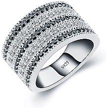 ANGG Classique Bague en argent sterling 925 pour femme Noir et blanc CZ Diamant de synthèse Mariage et engagement Bijoux