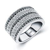 ANGG Schwarz Weiß Zirkonia Simulierter Diamant 925 Sterling Silber Ring